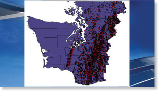 Chart showing nearly 16,000 lightning strikes in Western Washington on May 30, 2020.