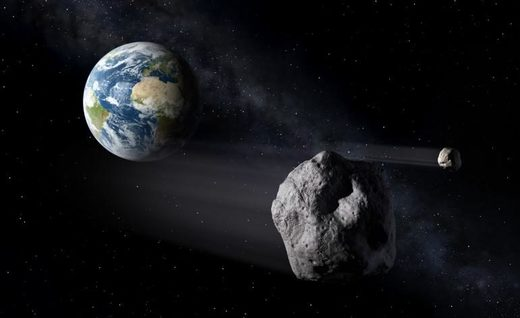 artistic illustration of an asteroid flying by Earth