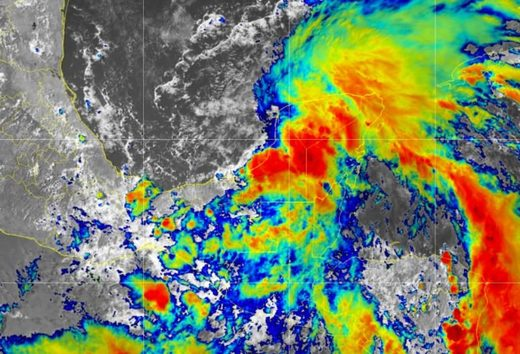 A satellite image showing Cristobal moving over southern Mexico