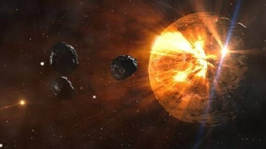 Illustration of asteroids
