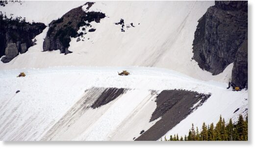 Snow removal at the Rim Rock area on the Going-to-the-Sun Road on June 3, 2020.