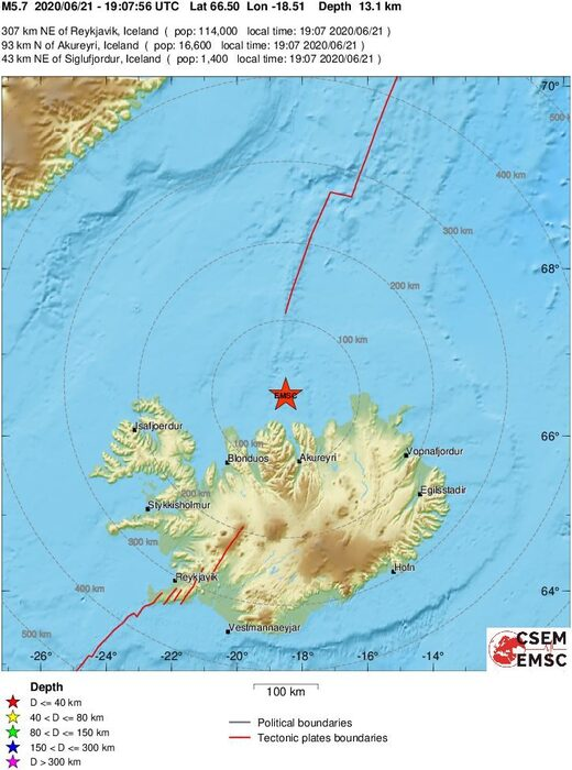 epicenter earthquake iceland june 2020