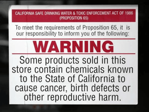 california cancer warning