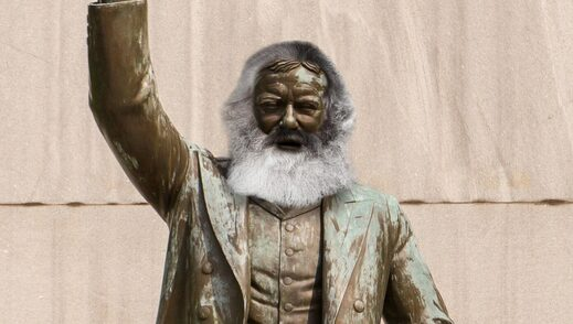 statue karl marx disguise