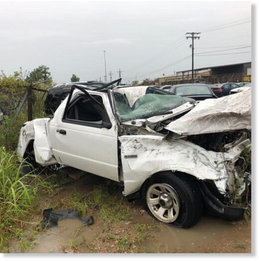 The vehicle that went missing from a parking lot along One Calais Avenue was found in the middle of I-10 following severe storms Wednesday morning.