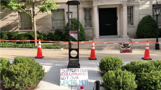 Guillotine outside Jeff Bezos' DC residence