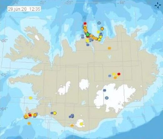 Image showing the earthquake swarm to the north of Iceland