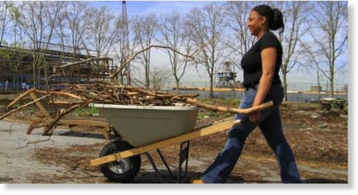 Pushing a loaded wheelbarrow