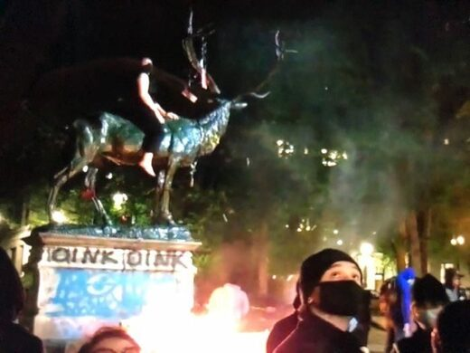 Portland Elk fountain on fire