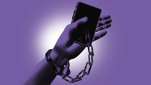 phone handcuffed to arm