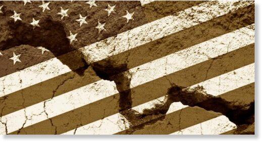 fractured US flag