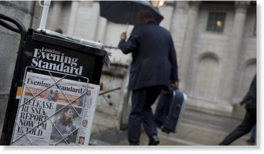 Copies of the London Evening Standard newspaper