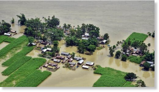 An aerial view of the flood-affected areas of Assam on Friday.