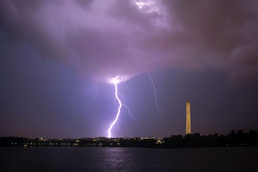 One of many lightning flashes in Washington last night