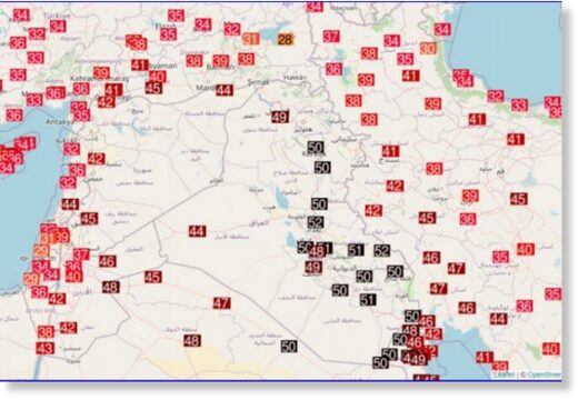 BAGHDAD WITH NEW ALL-TIME HIGH TEMPERATURE RECORD, +51,8°C/125°F, SYRIA +50,0°C, ISRAEL +44,2°C; +53°C