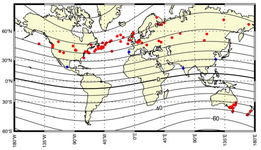 Red dots mark aurora sightings during the Oct-Nov 1903 superstorm