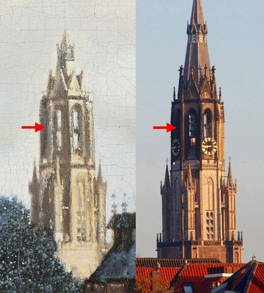 view of delft vermeer comparison church tower