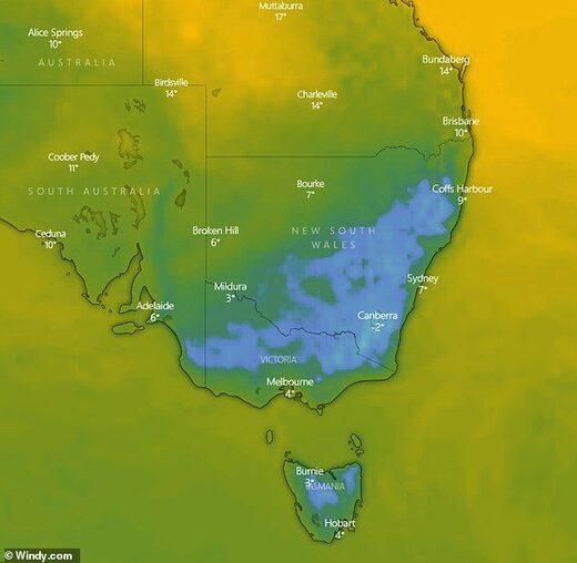 Australia cold front map