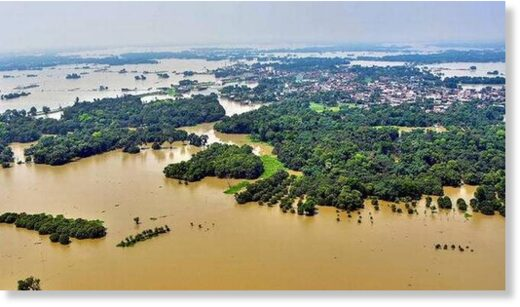 An aerial view of the flood-affected Darbhanga district of Bihar on Wednesday.