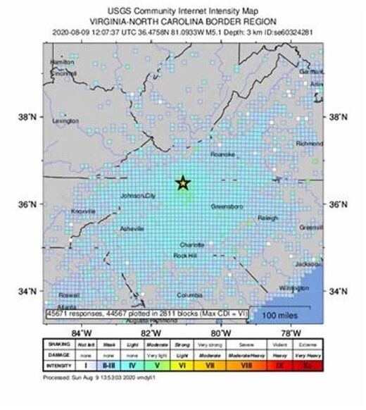 An intensity map shows the effects of an earthquake in North Carolina
