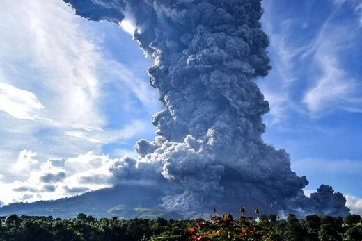 Mount Sinabung seen spewing volcanic smoke