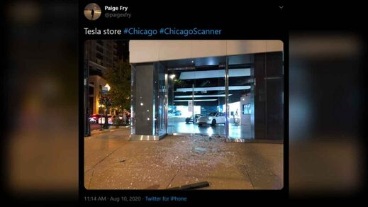 tesla store chicago looting