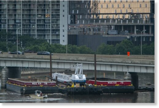 Photo of barge that struck the Vine Street interchange over the Schuylkill River due to heavy rain and flooding last week.