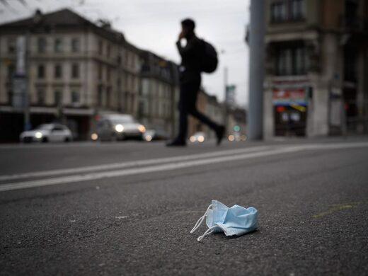 face mask litter streets