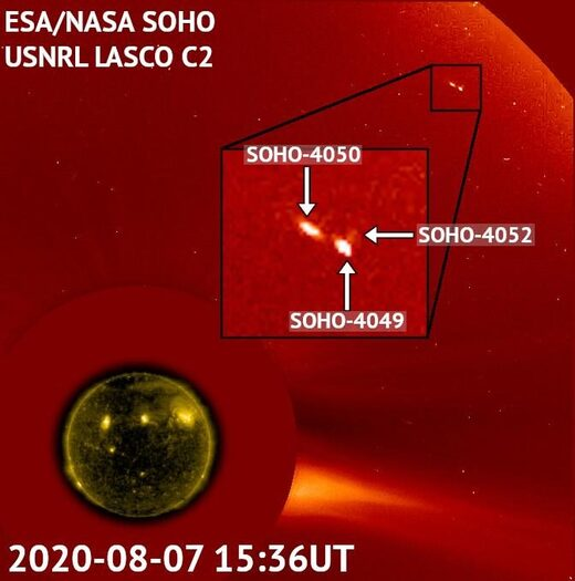 Image of three comets captured by the SOHO satellite