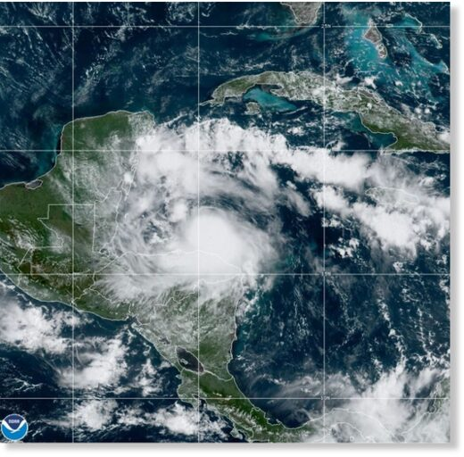Tropical Storm Nana approaching Belize, 02 September 2020