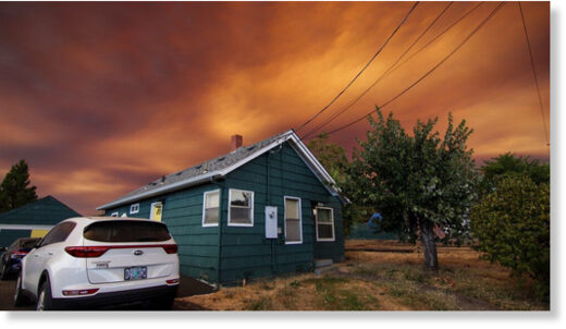 Cody Perkins shared photos Tuesday of wildfire smoke over Roseburg