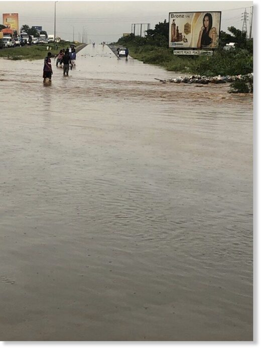 A photo of the flood situation in the North East Region