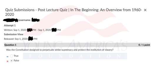 University white supremacy quiz
