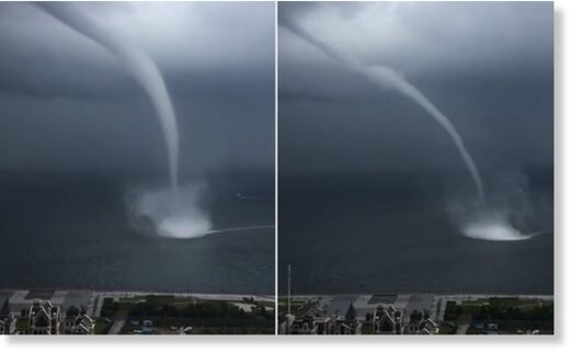 Footage released by China's Dalian Meteorology Bureau shows a waterspout looming over East Harbour Business District at 2pm on Friday. Another waterspout was spotted in the morning