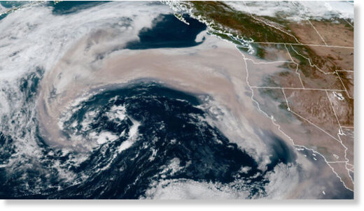 A swath of wildfire smoke is getting pulled into an offshore storm