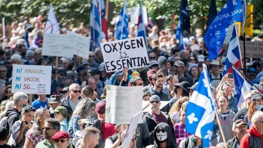 Anti-mask protest in Montreal draws large crowd, CBC blames 'US conspiracy theories'