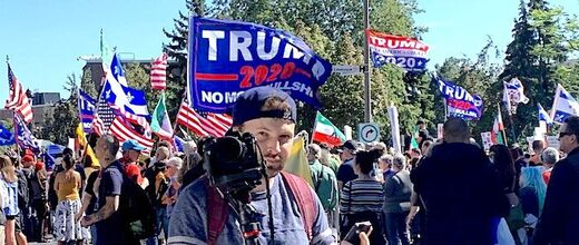 Montreal Canada: 100K march for freedom, chant 'USA', fly 'Trump 2020' flags, protest COVID-19 policies