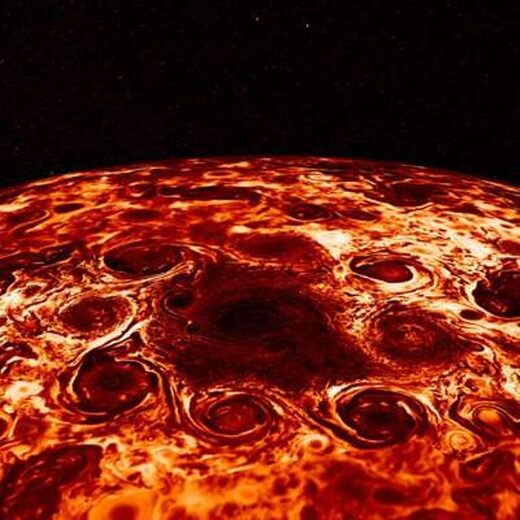 Storms gathered at the south pole of Jupiter, as imaged by the Juno probe