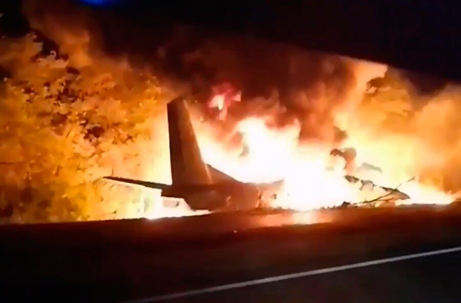 26 dead after Ukraine military plane crashes and bursts into flames