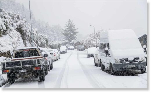 Heavy snow in Queenstown, New Zealand.