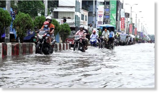 Most of the roads and streets went under knee-deep water in Rangpur after the persistent rainfall in the last 24 hours September 27,2020