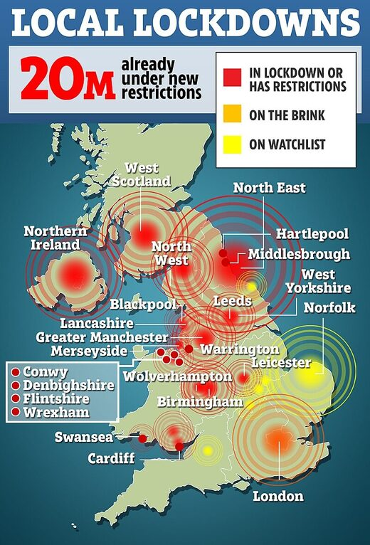 Britain lockdown areas October 2020 covid