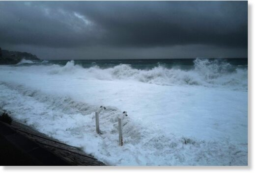 Waves hit the shore in Nice on October 2, 2020 as storm Alex reaches the French riviera's coasts.
