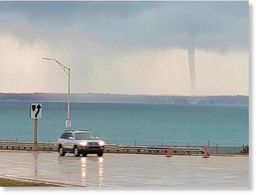 waterspout spotted near Mackinac Bridge