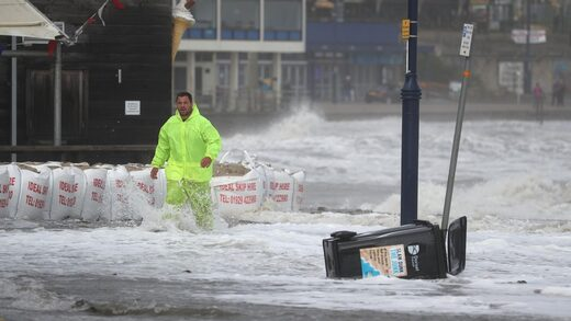 Water covered the streets in Swanage, Dorset amid Storm Alex