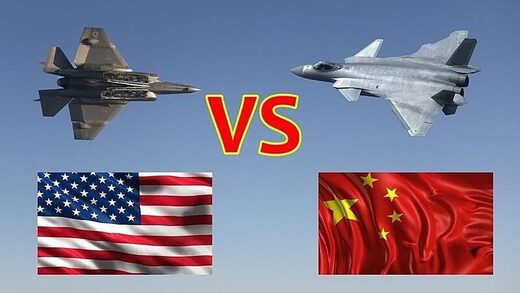 China US fighter jets flags american