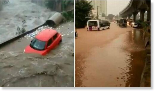 Heavy rain for the third consecutive day resulted in flooding in several parts of Bengaluru.