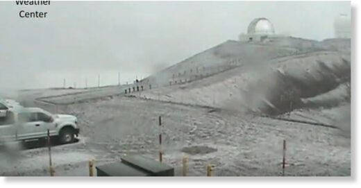 Snow on Mauna Kea was seen around 4 p.m. Monday