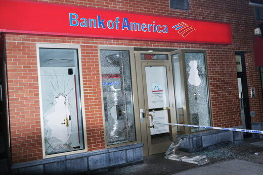 vandalized Bank of America Brooklyn anti-cop protest