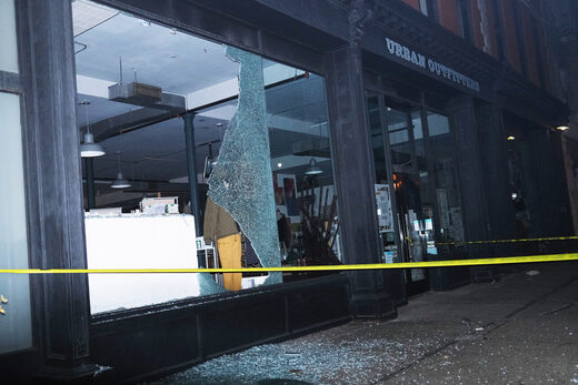 vandalized Urban Outfitters Brooklyn anti-cop protesters